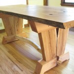 Oak Slab Trestle Table