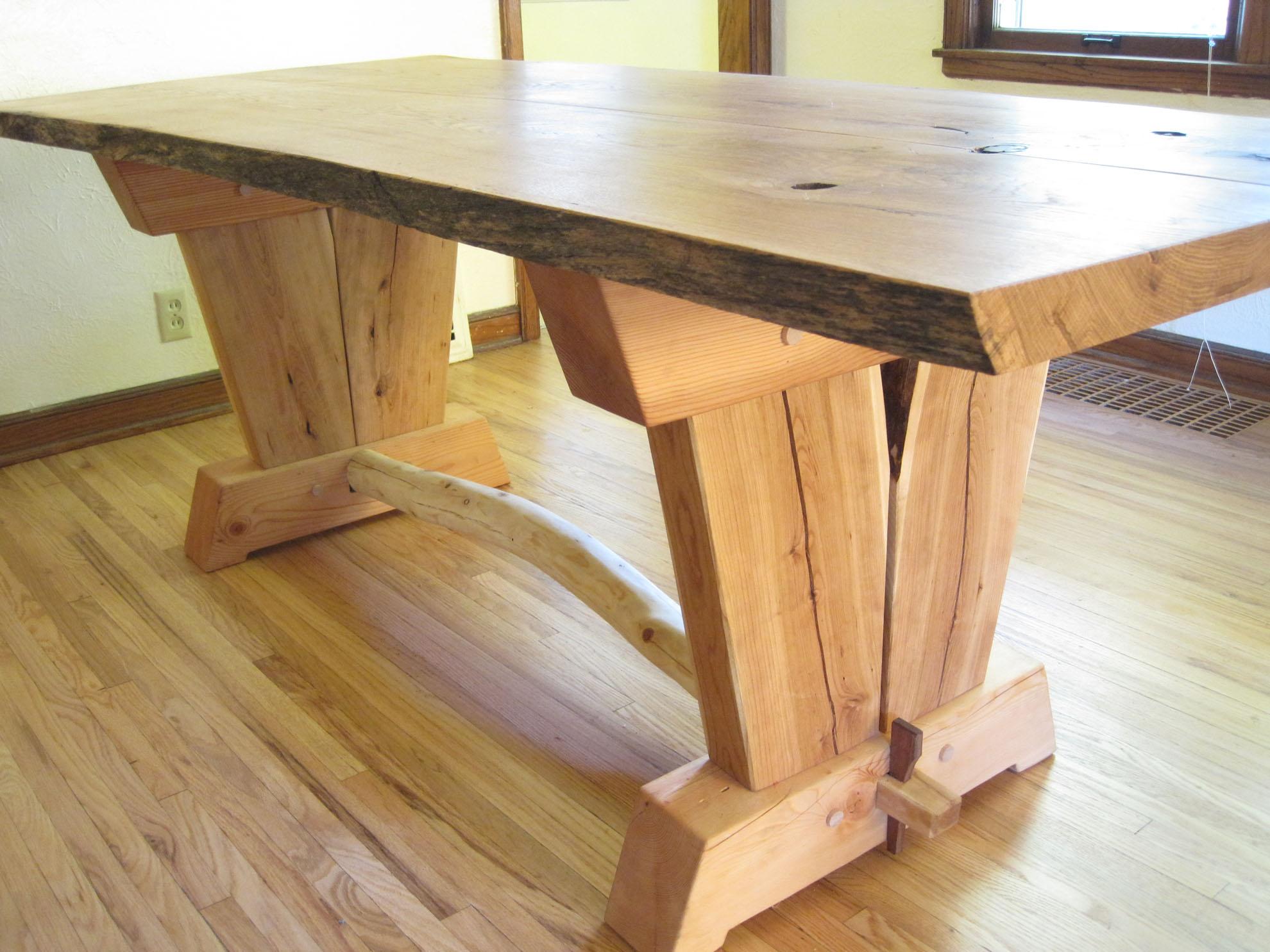 Oak Slab Trestle Table SKOGLUND WOODWORK : table1 from skoglundwoodwork.com size 1980 x 1485 jpeg 361kB